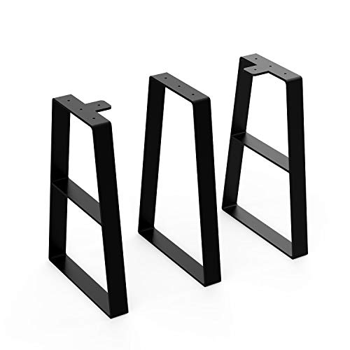 """Orgerphy 16"""" Black Trapezoid Metal Bench Legs (3PCS) 