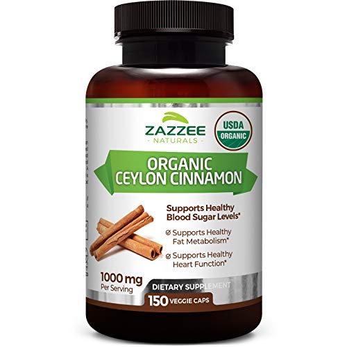 Zazzee USDA Certified Organic Ceylon Cinnamon, 150 Count, Vegan, 1000 mg per Serving, USDA Certified Organic, Grown in Sri Lanka, Non-GMO and All-Natural