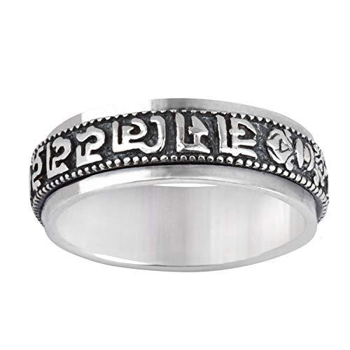 Silverly Frauen Männer .925 Sterling Silber SpInnere tibetisch buddhistischen Mantra Sanskrit Band Ring