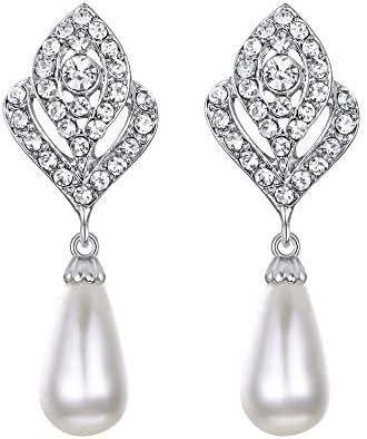 EVER FAITH Clear Crystal Simulated Pearl Flower Bud Tear Drop Bridal Banquet Clip on Earrings product image