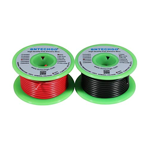 Preisvergleich Produktbild BNTECHGO 22 AWG 1007 Electric wire 22 Gauge PVC 1007 Wire Solid Wire Hook Up Wire 300V Solid Tinned Copper Wire Red and Black Each Color 25 ft Per Reel For DIY