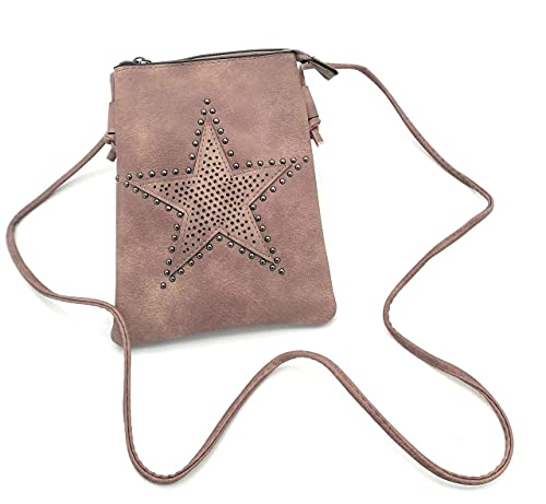 J.S. Ondo Bolso bandolera mujer, bolso pequeño mujer, bolso móvil mujer. (Rosa)
