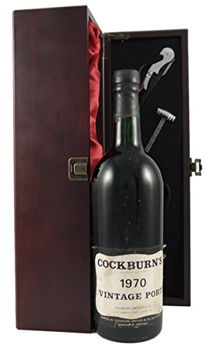 Photo of Cockburn's Vintage Port 1970 in a silk lined wooden gift box with four wine accessories, 1 x 700ml