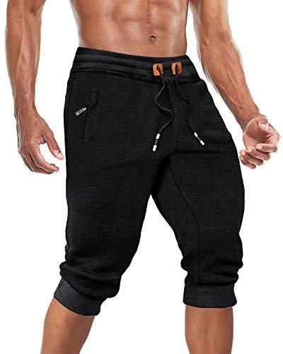 BIYLACLESEN Capri Pants for Men 3/4 Sweatpants Men Gym Shorts Men Capri Jogger 3/4 Pants Men Long Shorts for Men Below Knee Shorts Men Black