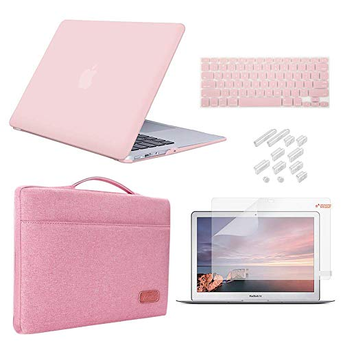 iCasso MacBook Pro 13 Inch Case 2012 - 2015 Release Model A1425/A1502 Bundle 5 in 1, Hard Plastic Case, Sleeve, Screen Protector, Keyboard Cover & Dust Plug Compatible Old MacBook Pro 13 - Rose Quartz