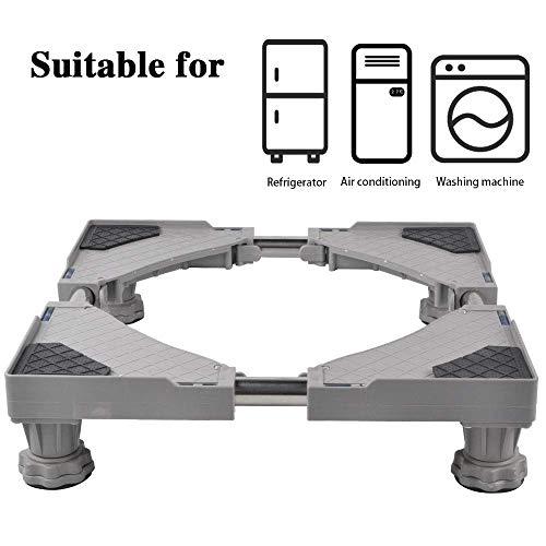 SMONTER Waschmaschine verschiebbar Sockel, Podeste & Rahmen für Kühlschrank, Multifunktionaler beweglicher verstellbare Stand für Trockner, 4Füße, Grau