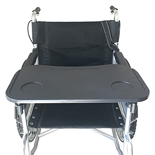 """Wheelchair Tray, Detachable Wheelchair Table Removable Adult,Mobility Accessory Attachment Cup Holder Durable, Wheelchair Accessories,Fits Wheelchair Arms of 16"""" - 20"""", with Secure Straps"""