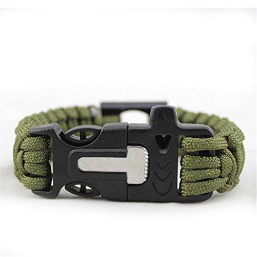 GAOHAILONG Bracelet d'urgence kit, corde de parachute, Fire Starter, outil de découpe, DE SURVIE Pêche Gear, Petit, sifflet, boucle de verrouillage Décapsuleur, Green
