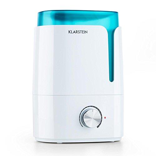 Klarstein Stavanger humidificador de Aire ultrasónico (3,5 L, 300 ml/h sin emisión de Vapor, difusor Aroma, Ambiente Relajante) - Blanco/Turquesa