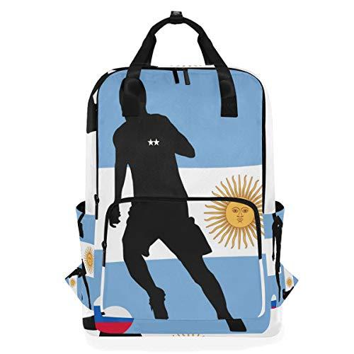 MONTOJ Mochila de Viaje Argentina Bandera fútbol Escuela Mochila
