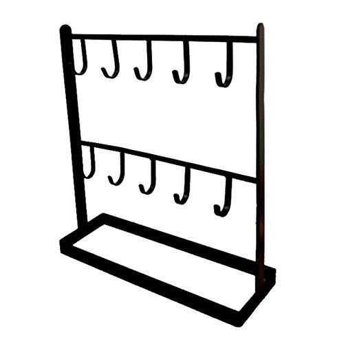 WEIGENG Estante de almacenamiento de joyería de 2 capas para pendientes, soporte para collares, pulseras y pulseras de joyería con gancho estante negro y blanco dorado Porta Joia (color: negro)