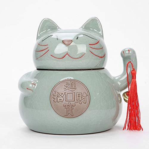 Garneck Teedosen Keramik für Losen Tee Katze Teedose mit Deckel Tee Dosen Container Teekanne Teedose Lebensmittel Vorratsglas für Tee, Kaffee, Kräuter, Gewürze, Größe S