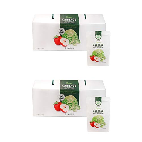 2 Boxes KPurity 100% Organic Sweet Cabbage Extract Juice with Broccoli, Apple, and Wild Ginseng Pure Extract Juice 30 Packs x 100ml