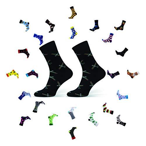 Sesto Senso Calcetines Divertidos Algodón Mujer Hombre Locos Coloridos Funny Socks Negro Verde Militar 39-42 Aviones