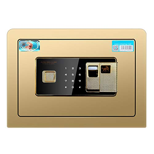 Beveiliging Kluis, 25Cm Steel Brandkast Van Het Huis Met Fingerprint Digital Elektronisch Slot, Wall of Kabinet Verankering Ontwerp Home Security Electronic Lock Box,Gold