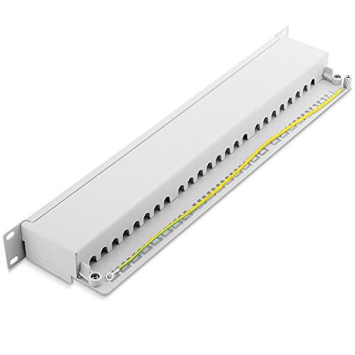 deleyCON CAT 6 Patchpanel Verteilerfeld 24 Port - Desktop 19 Zoll Rackeinbau Servermontage - RJ45 - Geschirmt - TIA568A TIA568B Grau