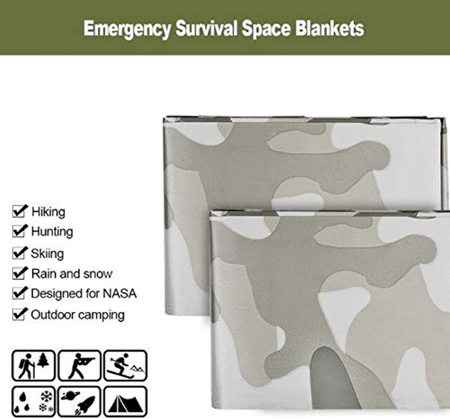 3pcs Camouflage Emergency Blanket Survival Gear Mylar Survival Thermal Blankets fgoldutdoors Hiking Marathon Bug Out Bag   White