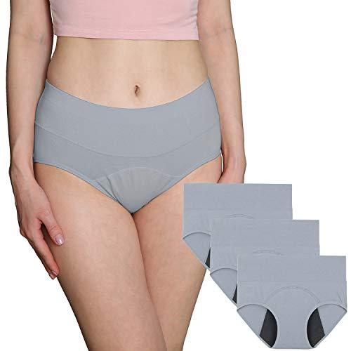 INNERSY Slip Damen Perioden Unterwäsche Baumwolle Pantys Kaiserschnitt Unterhose 3er Pack (46, Grau)