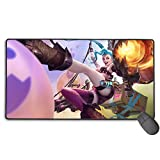 Extended Gaming Mouse Pad for League Legends Jinx, Computer Keyboard Mouse Mat Computer Keyboard Pad Mat for PC Computer Laptop 15.8x35.5 in(40cm X 90cm)