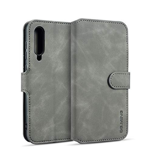 xinyunew Hülle Kompatibel mit Huawei P30 Lite Hülle,360 Grad Handyhülle + Panzerglas Premium Handy Schutzhülle Leder Wallet Tasche Flip Brieftasche Etui Schale (Grau)