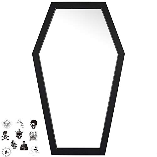 Gothvanity Coffin Mirror - Gothic Decor for Bedroom ,Living Room or Bathroom - Hooks Included - Large and Sturdy - Wooden Wall Mirror - Black - 20x12 inches
