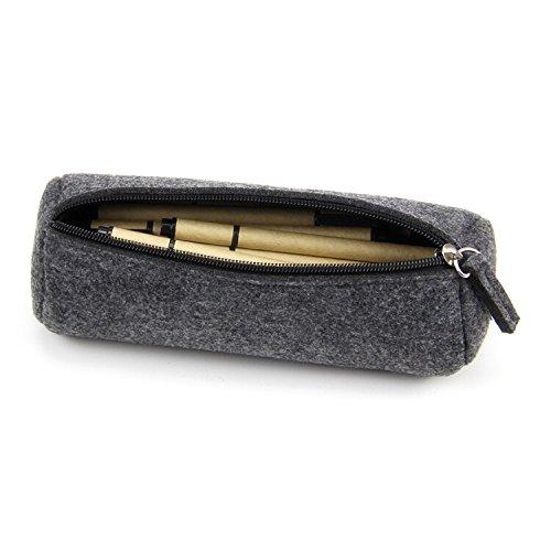 Youngman Fashion Wool Felt Simple Cosmetic Pen Pencil Bag Case Roll-stylish Minimalist Wool Felt Folded Pen Case/pen Holder (22.57.5 Cm, Dark-gray) (Black)