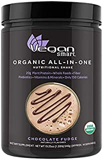 Vegansmart Plant Based Organic Protein Powder by Naturade, All-in-One Nutritional Shake - Chocolate Fudge 19.25 Ounce