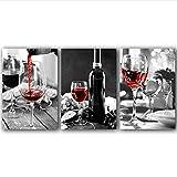 WHMQJQ Peinture sur Toile vin Cristal Verre Raisin Rose Rouge 3 pièces Affiches Imprime Romantique et Doux décor à la Maison Photo Murale sans Cadre 50 * 70Cm * 3