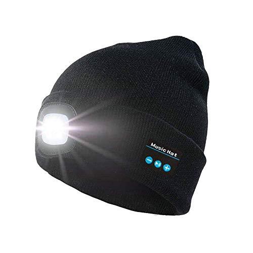 TTCPUYSA Bluetooth 5.0 Music Beanie Hat Altoparlante Vivavoce Lampada Frontale a Led Cappello Luminoso Unisex per Sport All'aria Aperta Sci Corsa San Valentino Regali Di Compleanno (Black)