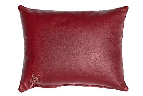 Centaur - Deko Lederkissen 50 x 40 cm für Sofa oder Schlafzimmer weinrot - Echt Leder Kissen Echtleder Sofakissen Lederoptik