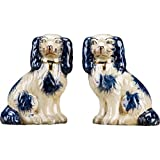OR Staffordshire Reproduction King Charles Spaniel Blue Dog Pair Small Figurines