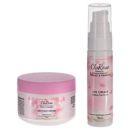 Kit facial antienvejecimiento y purificador ClaRose - Crema facial (50 ml) y crema de contorno de ojos (30 ml) con aceite de rosas 100 {b1fb877025057656a4e936b5fceb23056ae12f1ccf18e41672232489b180da1a} natural, yogur y prebiótico