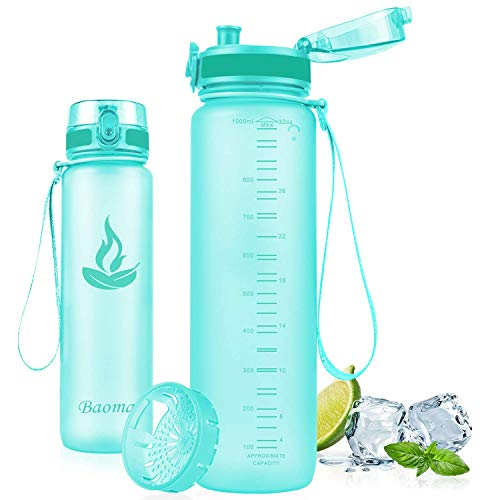 Baomay Botella de Agua Deportiva 350ml, Adultos/Niños Bottle con Filtro, Bidon de Bebidas Plástico Tritan, para Gimnasio, Ciclismo, Trekking | Sin-BPA & Impermeable & Reutilizable (Menta)