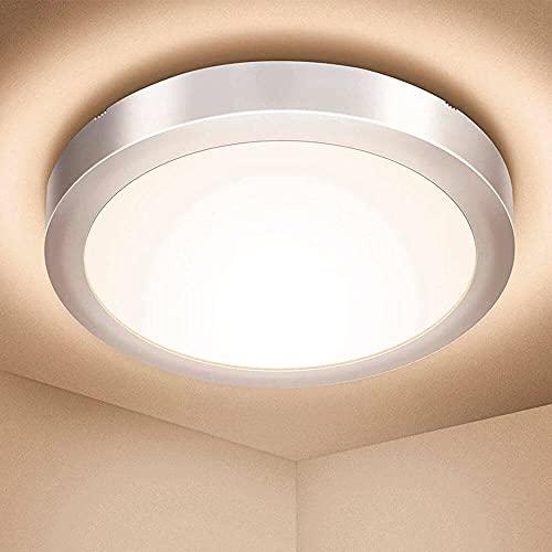 FactorLED Plafón Superficie LED Circular 15W Osram, Lámpara Redonda Techo y Pared, Marco Plata, Luz Seleccionable en cálida, natural o fría desde su interruptor (3000K-4000K-6000K) (15)
