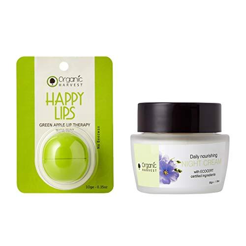 Organic Harvest Combo, ECOCERT & PeTA Certified, Paraben & Sulphate Free (Daily Night Cream+Green Apple Lip Balm)