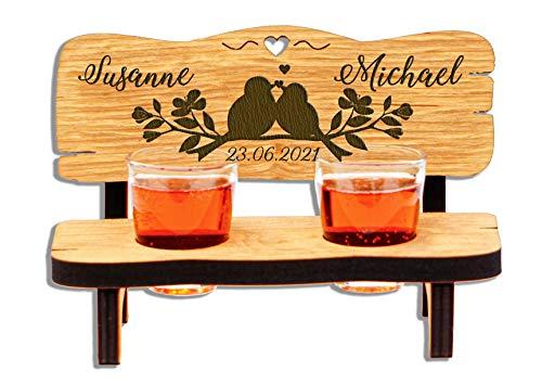 DARO Design - Schnapsbank mit Gravur aus Holz - Hochzeitsbank mit Schnapsgläsern zur Hochzeit mit 2 Zwei Gläsern (2 Vögelchen)