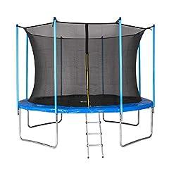 MotionXperts Utomhus studsmatta 366 cm blå med invändigt nät, vadderade stavar & stege, lastkapacitet 150 kg