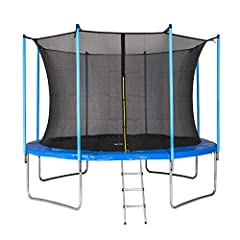 MotionXperts Outdoor Trampoline 366 cm blauw met intern net, gewatteerde hengels & ladder, laadvermogen 150 kg*