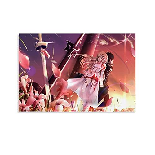 Anime-Poster, Schwertkunst, Online-Poster, Kirito und Asuna, Leinwand-Kunstdruck, modernes Familienschlafzimmer, 20 x 30 cm