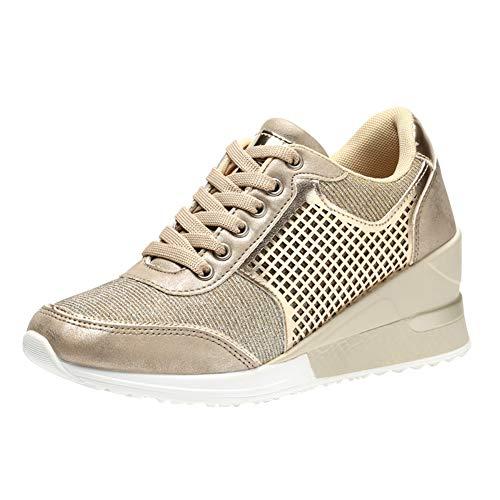 Zapatos para Correr para Mujer Tacones con cuña Zapatillas de Deporte Zapatos Deportivos Transpirables para Mujer Zapatos con Punta Redonda con Cordones Malla de Cuero Antideslizante