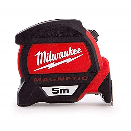 Cinta métrica magnética Milwaukee 48227305 HP5Mg 27, color rojo negro