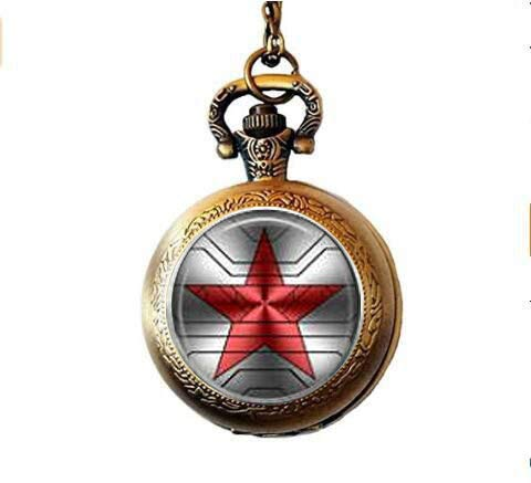 Bucky Barnes aka Winter Soldier Logo Pocket Watch Necklace -  web