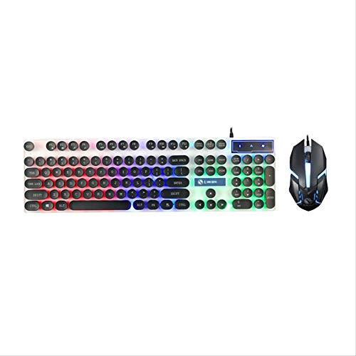 NOBRAND WHSG Ronde Keycap Toetsenbord Muis Set Wired Keyboard Suspension gloeiende Game Office Toetsenbord Muis