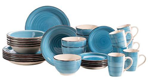 MÄSER 931619 Bel Tempo II 30-teiliges Vintage Geschirr Set für 6 Personen, handbemaltes Keramik Kombiservice in Dunkelblau, Steingut