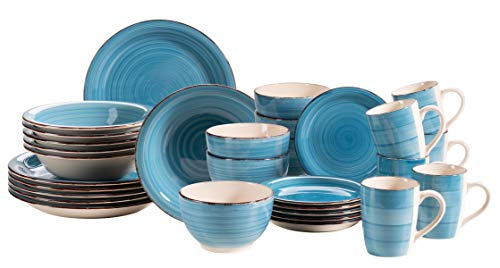 MÄSER 931619 Bel Tempo II - Vajilla para 6 personas (30 piezas, cerámica pintada a mano, color azul oscuro
