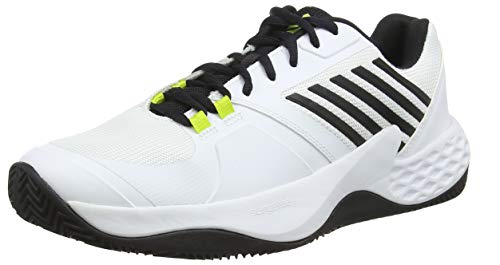 Dunlop Herren Aero Court HB Sneaker, White/Black/Neon Yellow, 42 EU