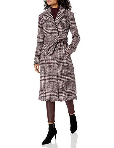 Cole Haan Women's Long Wool Trench Coat, Burgundy, 12