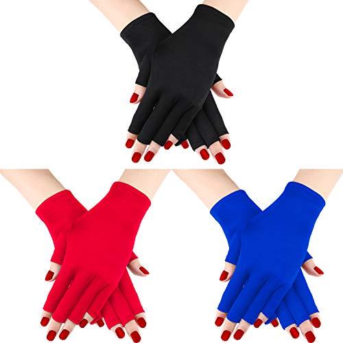 3 Paar UV Shield Handschuh Gel Maniküre Handschuh Anti UV Fingerlose Handschuhe Schützen die Hände vor UV-Licht Lampe Maniküre Trockner (Schwarz, Rot, Königsblau)