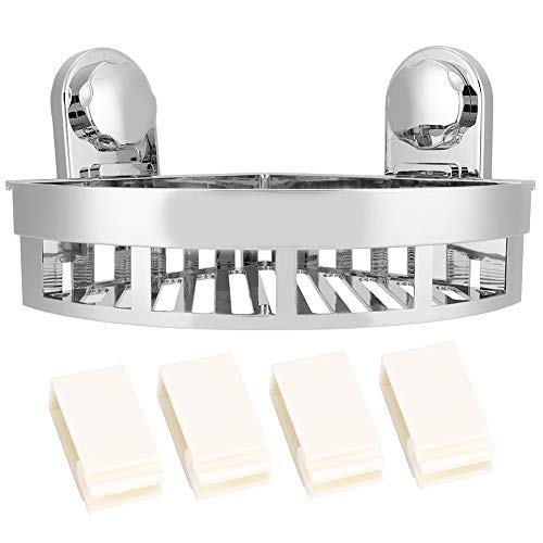 HelloCreate Cesta organizadora de estante de esquina montada en la pared con fuerte succión de baño