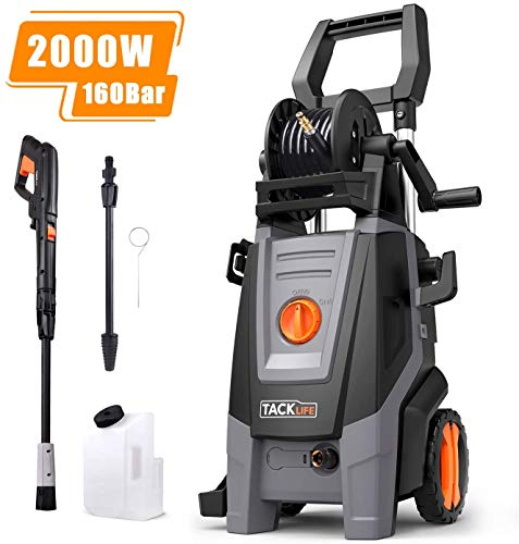 Pressure Washer, 160Bars 2000W 450L/H Full Copper Motor Pump Jet Washers, 6M High Pressure Hose and Hose Reel, 1000ML Detergent Tank Power Pressure Washer High Pressure Washer, Car Washing Machine